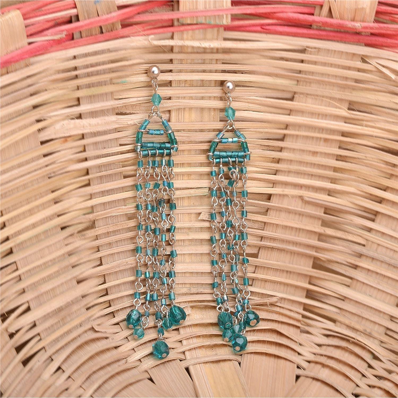 Ornamenta Earrings Hand Made Long Green Beaded Tassel Hook Dangler Jewellery For Girls and Women