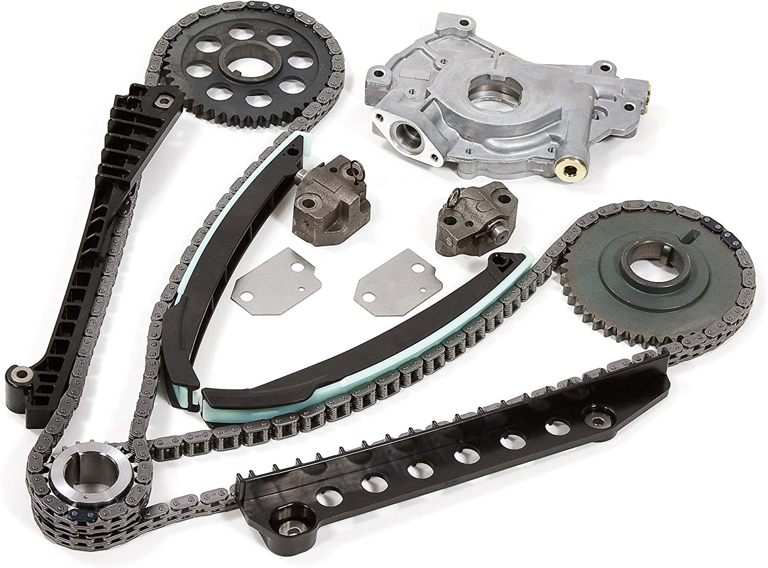 Evergreen TK6054LOP Fits 02-04 Ford F150 F250 E150 E250 Expedition Excursion 5.4 SOHC 16 Valves Timing Chain Kit Oil Pump 81TyvC0tM8LSL1500_