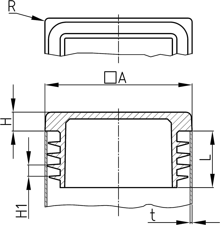 Design61 Lot de 10 bouchons /à lamelles carr/és 38 x 38 mm avec lamelles pour dimensions int/érieures 31-36 mm
