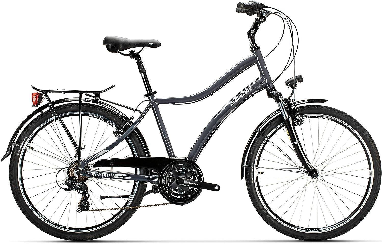 Conor Bicicleta Malibu Man Gris. Bicicleta para Ciudad Dos Ruedas. Bici Urbana para Adultos para Dar Paseos. Bike desplazarse cómodamente por la Ciudad. Ruedas 26 Pulgadas.: Amazon.es: Deportes y aire libre