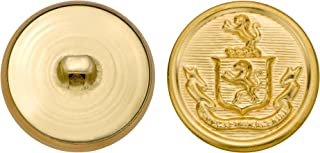 product image for C&C Metal Products 5257 Crest Metal Button, Size 40 Ligne, Gold, 36-Pack