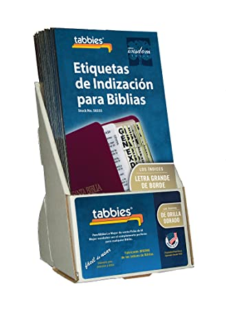 Tabbies 20 Pack with Display Large Print Gold-Edged Spanish Bible Indexing Tabs, Old