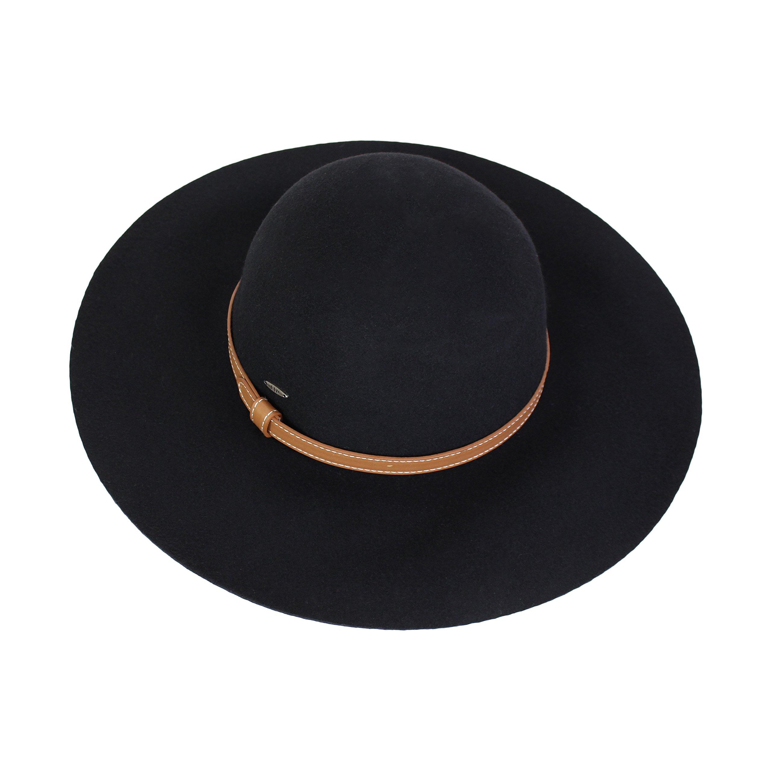 Elliott and Oliver Co. Vintage 100% Wool Felt Floppy Hat Fedora With Wide Brim and Vegan Leather Belt Trim (Black)