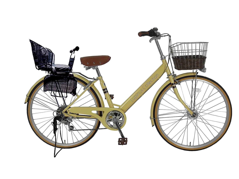 Lupinusルピナス 自転車 26インチ LP-266VA-KNR-B シティサイクル Vフレーム 籐風カゴ オートライト 後子乗せブラック B0798D4MK4アイボリー