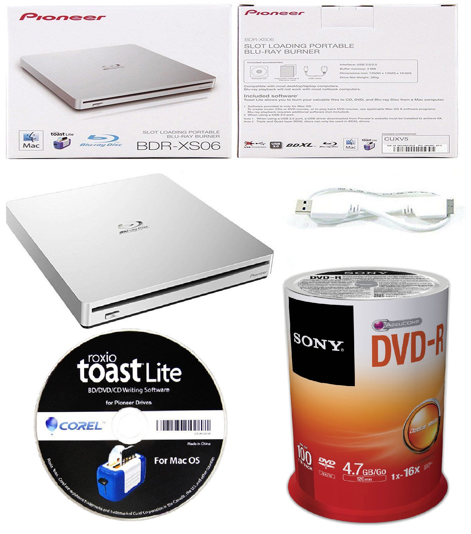 Pioneer 6x BDR-XS06 Slim Slot Portable External Blu-ray BDXL Burner, Roxio Toast Lite Software and USB Cable Bundle with 100pk DVD-R Sony Accucore 4.7GB 16X Recordable Media