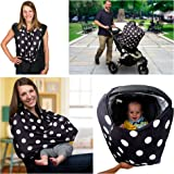 Multi-Use Nursing Breastfeeding Cover Scarf Canopy by Sprout'n Smiles for Boys and Girls; Baby Car Seat Cover, Shopping Cart and High Chair Cover, Super Soft, Stretchy - Best Baby Shower Present