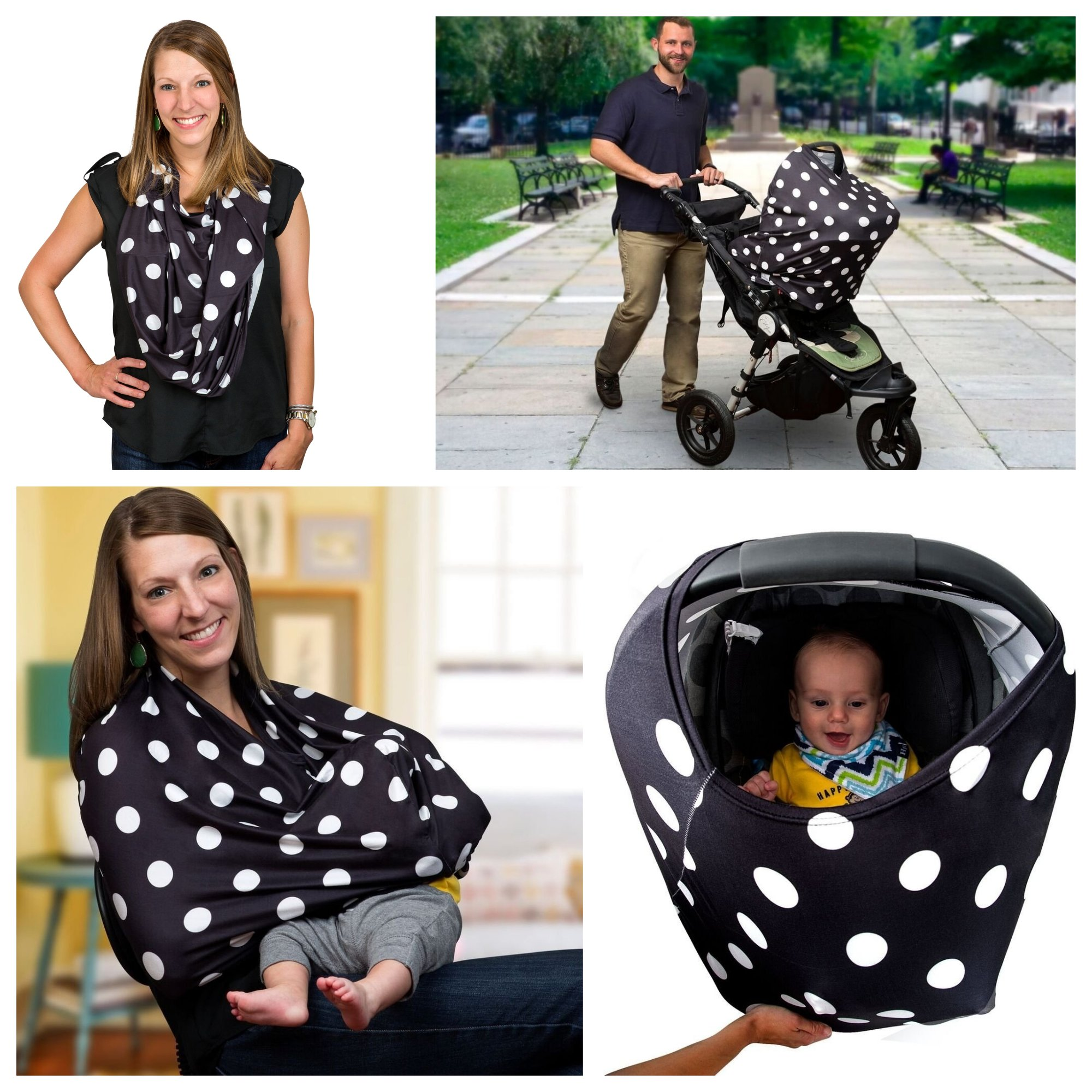Best Baby Shower Gft Present- Multi-Use Nursing Breastfeeding Cover Scarf Canopy by Sprout'n Smiles for Boys and Girls; Baby Car Seat Cover, Shopping Cart and High Chair Cover