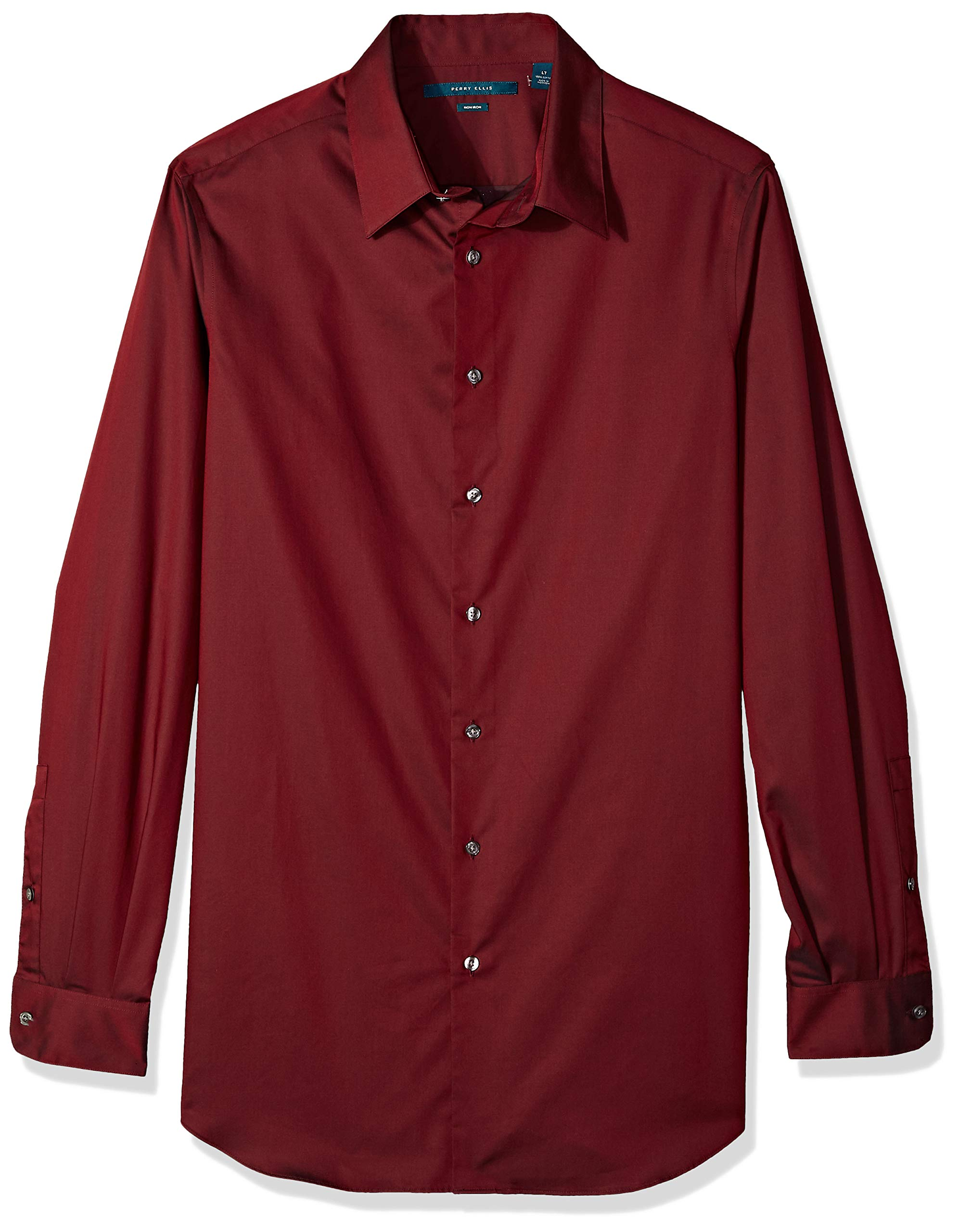 Perry Ellis Men's Tall Non-Iron Travel Luxe Solid Shirt, Burnt Russet, 3X Big