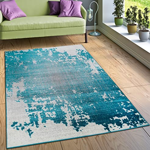 designer teppich wohnzimmer mit splash muster vintage optik in trkis wei grau grsse80x150 - Wohnzimmer Teppich Turkis