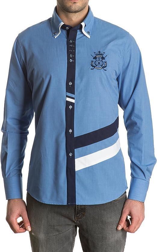 Sinigual - Camisa Estampada Hombre Con Puños Reversibles Y Doble Cuello Abotonado Color Celeste, Talla L: Amazon.es: Ropa y accesorios
