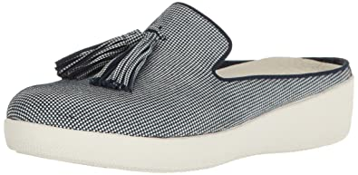 74b4520cdd8d2 FitFlop Womens Houndstooth Print Superskate Slip-On Loafer Midnight Navy 5  M US