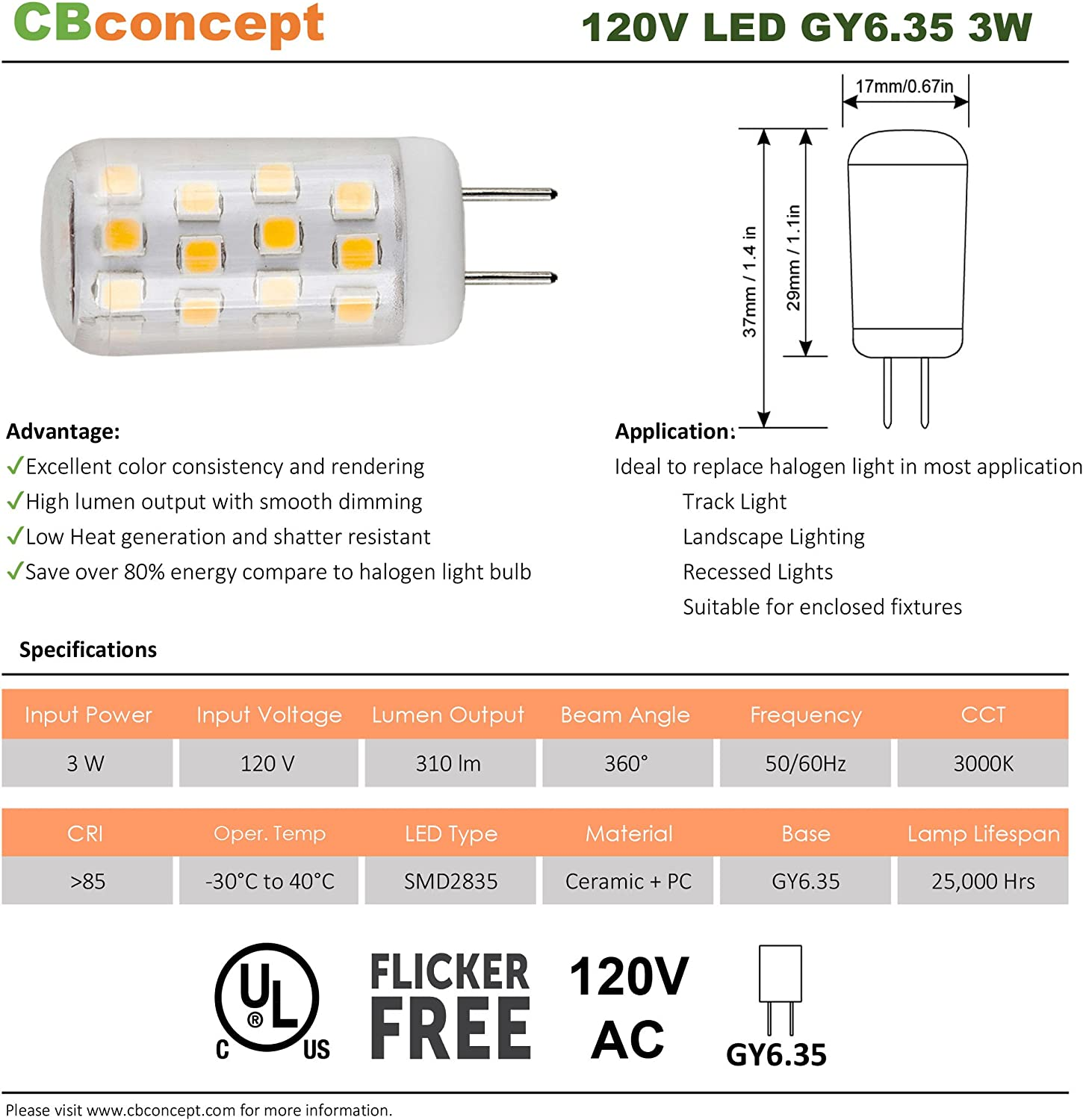CBConcept UL-Listed G6.35//GY6.35 Halogen//Xenon//Incandescent Replacement Bulb Pure White 6000K 3 Watt JCD 120 Volt GY6.35 LED Light Bulb 330 Lumen 360/° Beam Angle 35W Equivalent 5-Pack