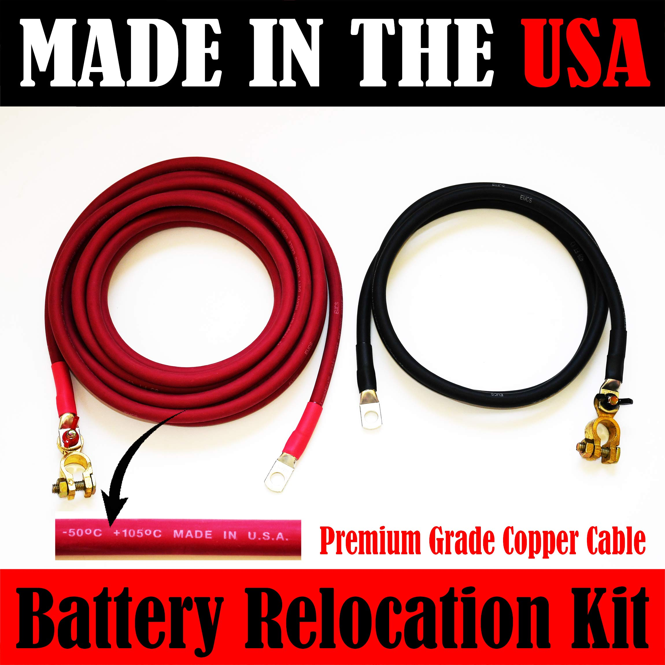 MADE IN USA SOLID COPPER Battery Relocation Kit, 2 AWG Cable, Top Post 20 FT RED 5 FT BLACK by PAKA TOOLS