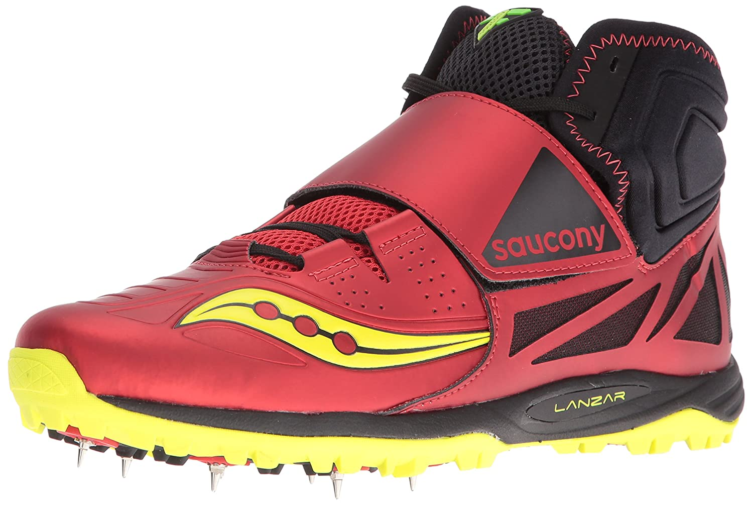 Saucony Men's Lanzar Jav2 Track and Field Shoe B01DAYGRH2 7.5 D(M) US|Red/Citron