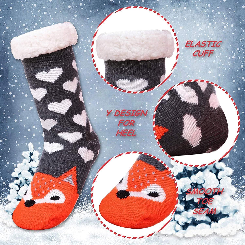 Winter niedliches Tiergesicht Damen-Socken superweich warm rutschfeste Socken 40 cm