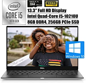 "Dell XPS 13 7390 2020 Premium Laptop Computer I 13.3"" FHD Display I Intel Quad-Core i5-10210U (>i7-8550U) I 8GB DDR4 256GB PCIe SSD I Backlit FP Thunderbolt Win 10 Pro + Delca 16GB Micro SD Card"