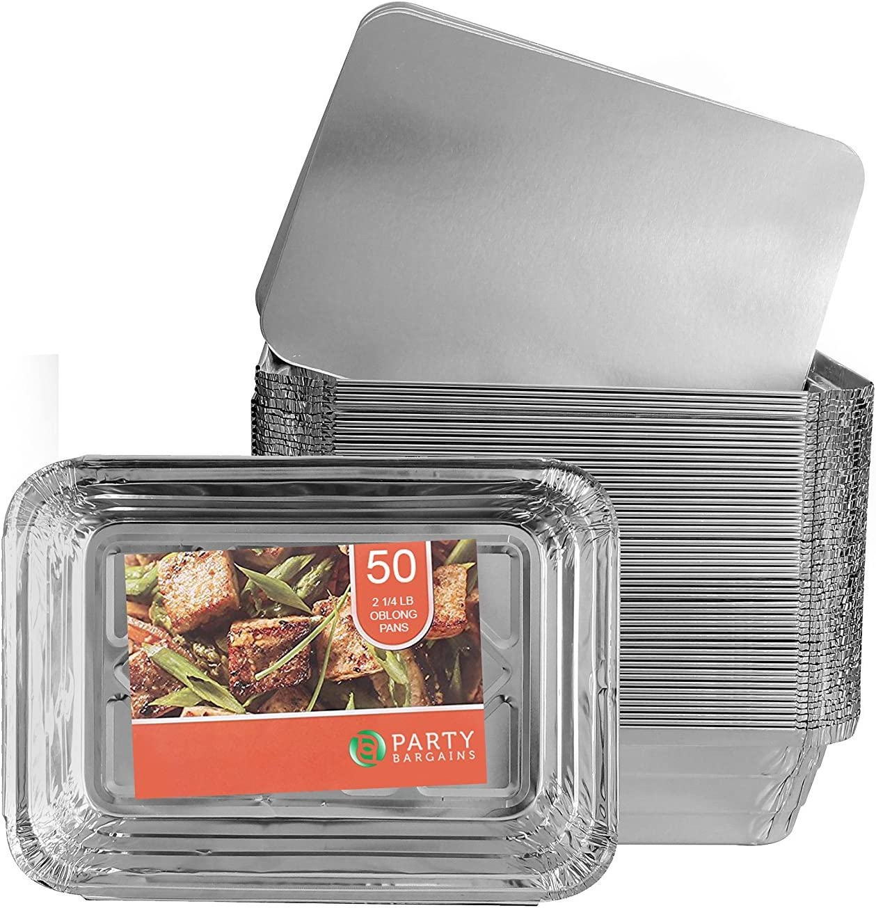 Party Bargains Aluminum Oblong Foil Pan Containers and Board Lids Set, 2.25 lb Capacity, 8.4inch x 5.9inch, Sets of Durable Quality Aluminum Foil Take-Out Pans. by Party Bargains