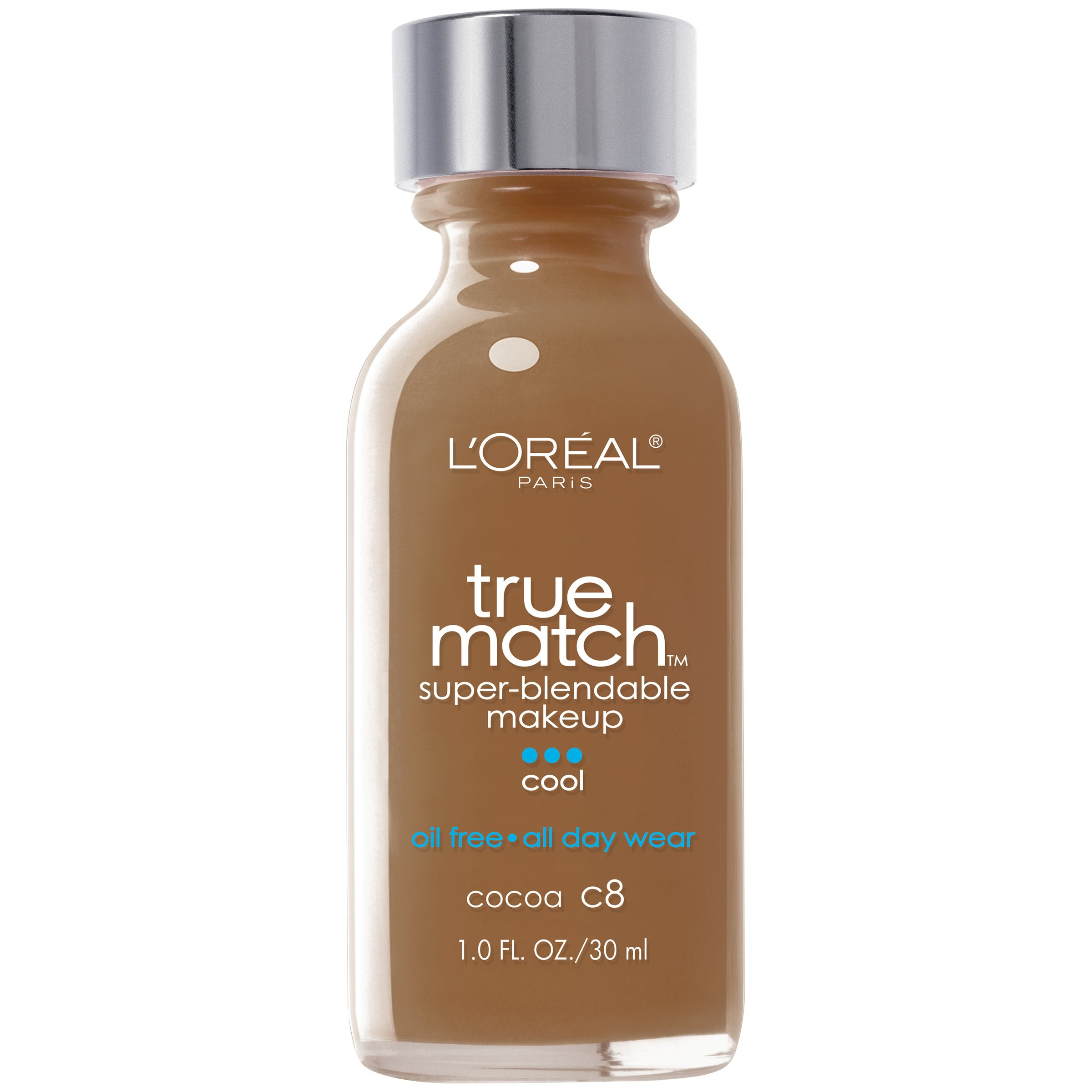 L'Oreal Paris Makeup True Match Super-Blendable Liquid Foundation, Cocoa C8, 1 Fl Oz,1 Count