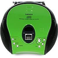Lenco SCD-24 Portable Stereo Boombox with CD Player & FM Radio – Green/Black
