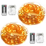 Amazon Price History for:2 Set Fairy String Lights Battery Operated Waterproof YIHONG 8 Modes 50 LED String Lights 16.4FT Copper Wire Firefly Lights Remote Control (Warm White)