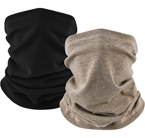 CUIMEI Fleece Neck Warmer Neck Gaiter Cover with Strip Winter Tube Face Mask Scarf for Cold Weather in Winter Ultimate Thermal Retention for Skiing Motorcycle Snowboard Cycling