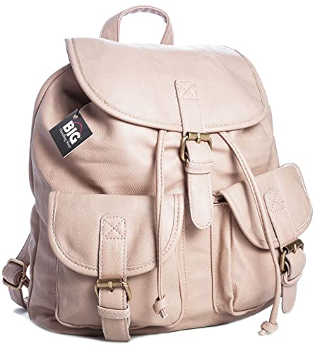 Women/'s Large Plain Faux Leather School College Backpack Rucksack Ladies