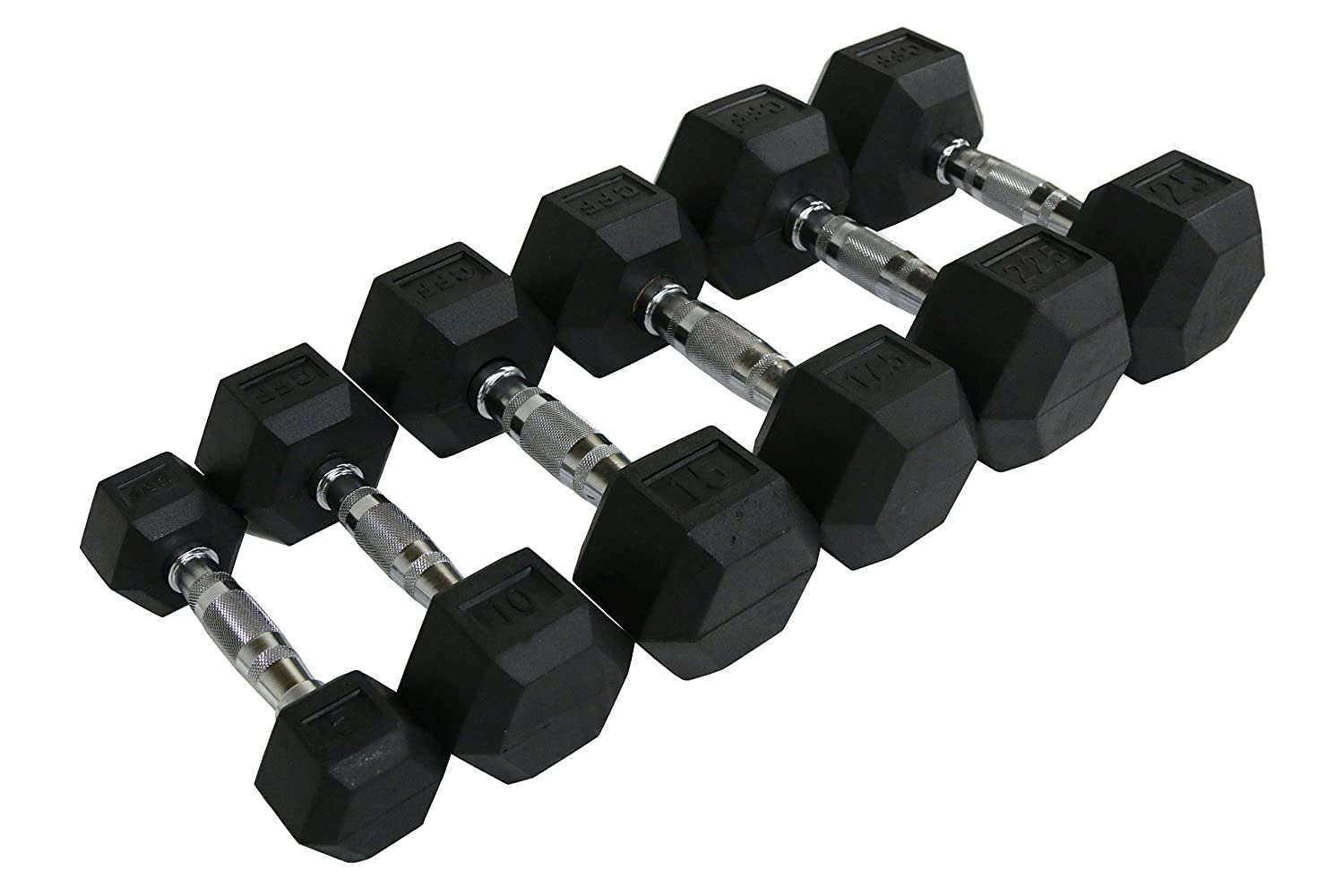 CFF Rubber Hex Dumbbell - Single Dumbbell CFF-RHD-015-PARENT