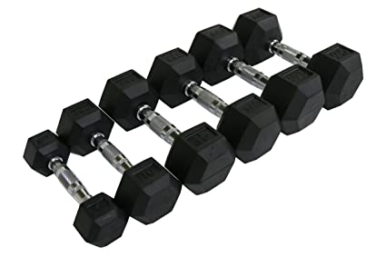 amazon com cff rubber hex dumbbell set 5 25 lbs sports outdoors