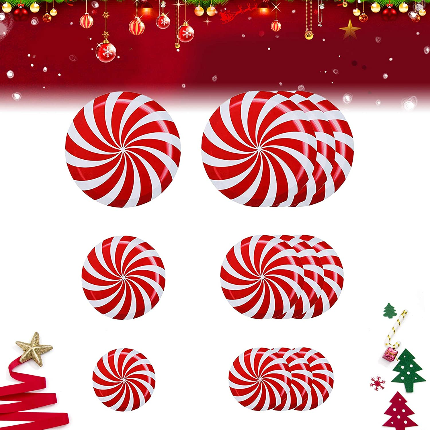 12Pcs Christmas Peppermint Floor Window Wall Decals Stickers for Christmas Candy Party Decoration Supplies