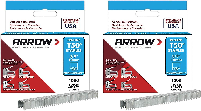 1,000-Pack 2 Pack Arrow Fastener 506SS1 Genuine T50 Stainless Steel 3//8-Inch Staples