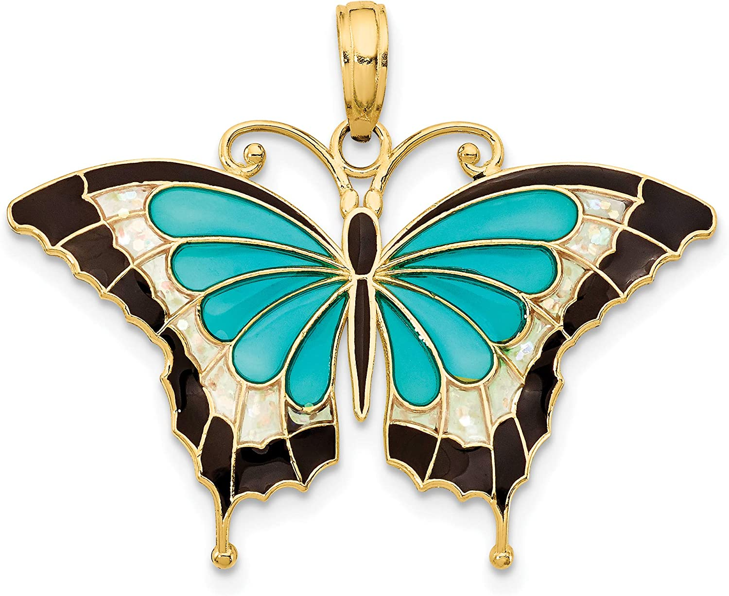 14k Yellow Gold Aqua And Black Stained Glass Wings Butterfly Pendant 24x31mm