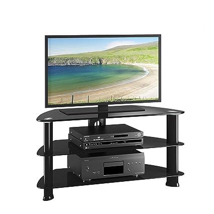 Amazon Com Corliving Trl 401 T Laguna Satin Black Corner Tv Stand