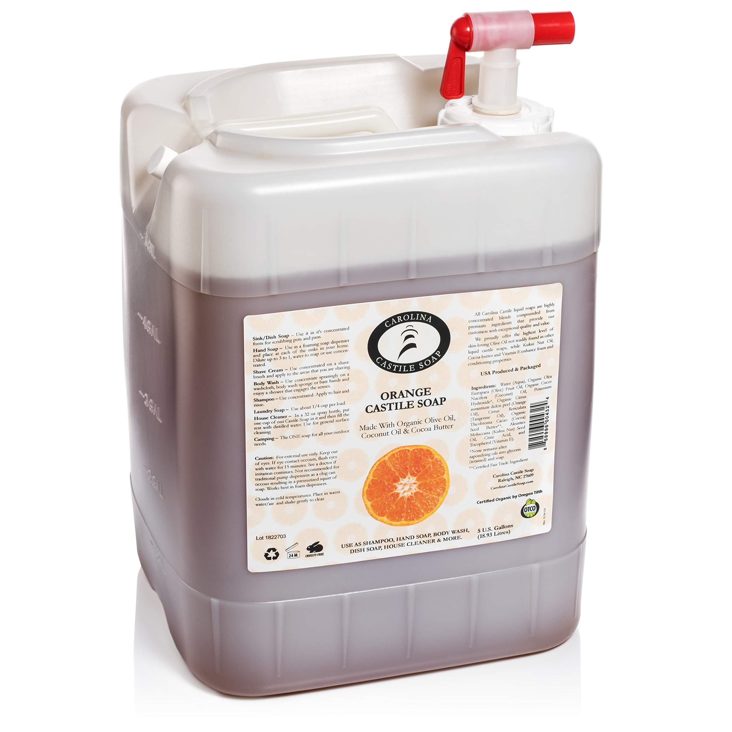 Orange Castile Soap (5 Gallon Jug) | Certified Organic