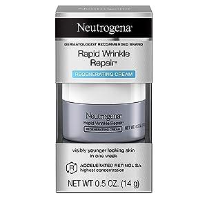 Neutrogena Rapid Wrinkle Repair Retinol Regenerating Face Cream & Hyaluronic Acid Anti-Wrinkle Face Moisturizer, Neck Cream, with Hyaluronic Acid & Retinol, Travel Size, 0.5 oz (Pack of 12)