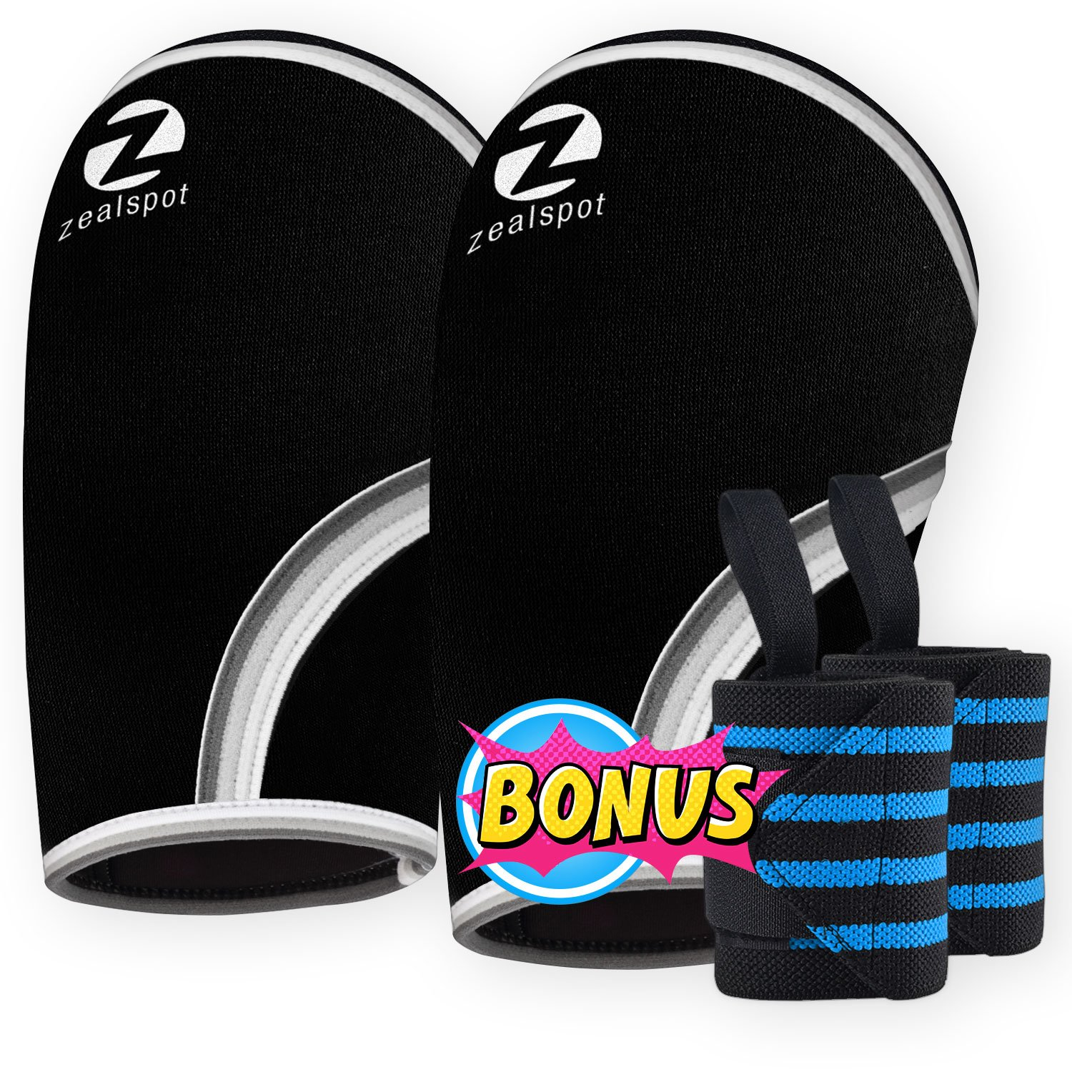Elbow Sleeves (Pair)W/ Bonus Heavy Duty Wrist Wraps-Support & Compression for Weightlifting, Powerlifting, CrossFit,Bench Press and Tennis-5mm Neoprene Brace for Both Women & Men, Black (M)