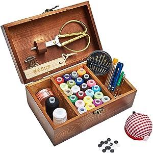 Sewing Kit, Wooden Sewing Basket with Accessories, Sewing Box with Sewing Kit Accessories for Home Repair Tool Set for Beginners/Women/Men/Girls/Kids