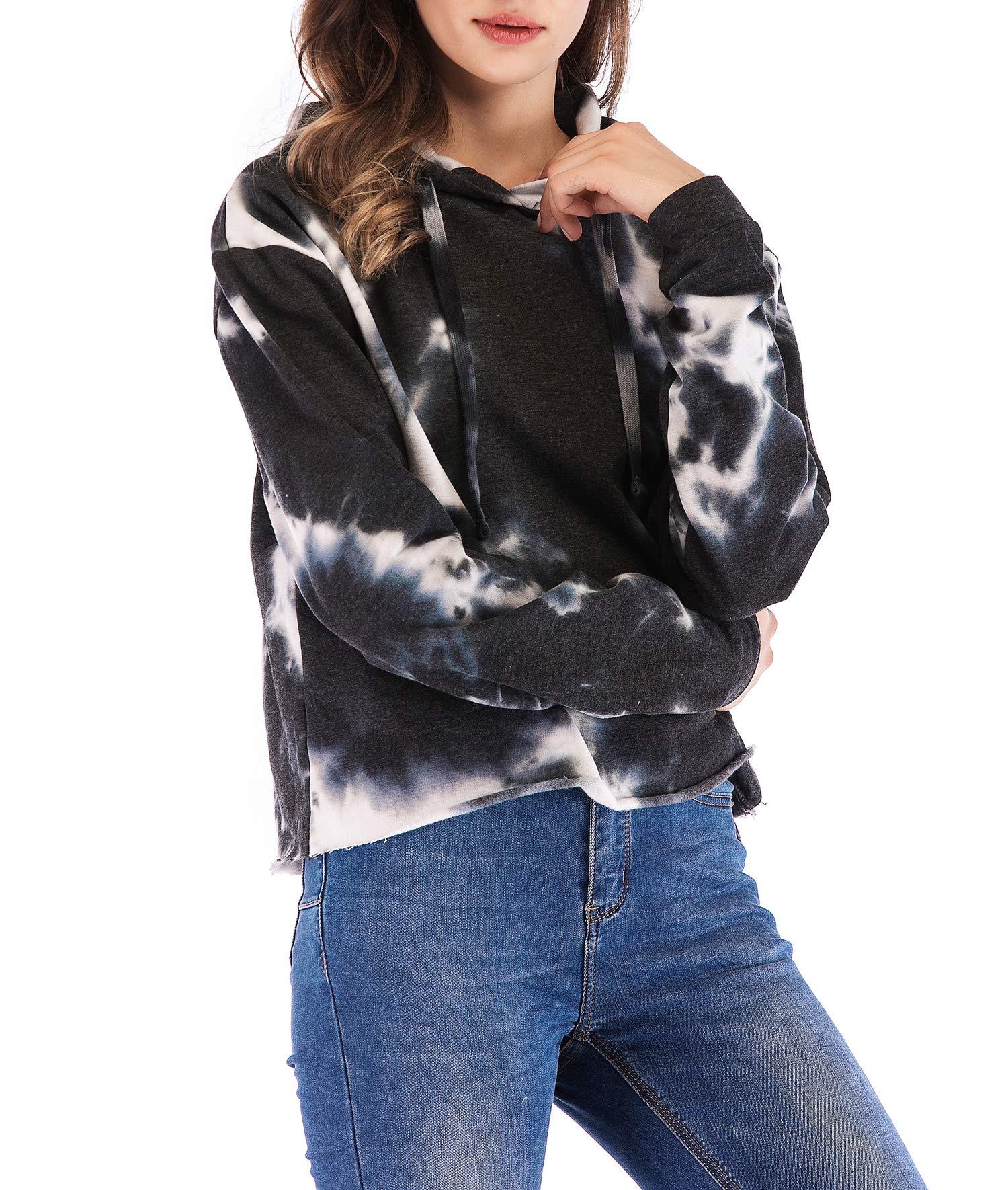 Eanklosco Womens Casual Long Sleeve Tie Dye Hoody (Black, L)