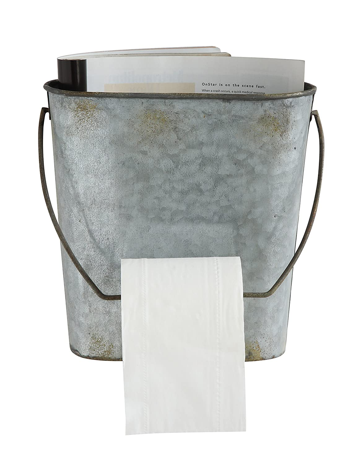 Creative Co-op DA6815 Magazine & Toilet Paper Wall Tin Bucket