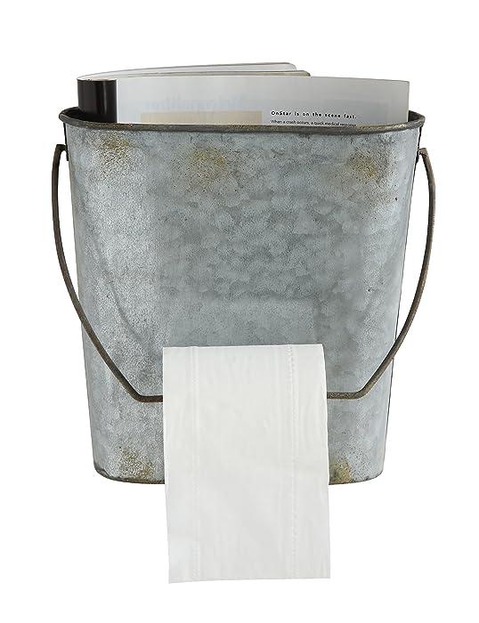 Creative Co-op DA6815 Magazine & Toilet Paper Wall Tin Bucket