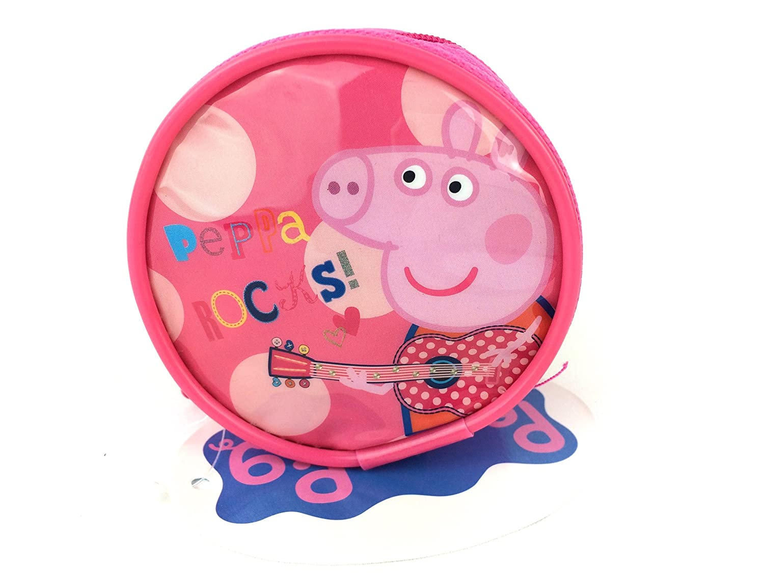 PEPPA PIG ROCKS KIDS GIRLS MONEY CHANGE COIN ZIP AROUND PURSE OFFICIAL NEW