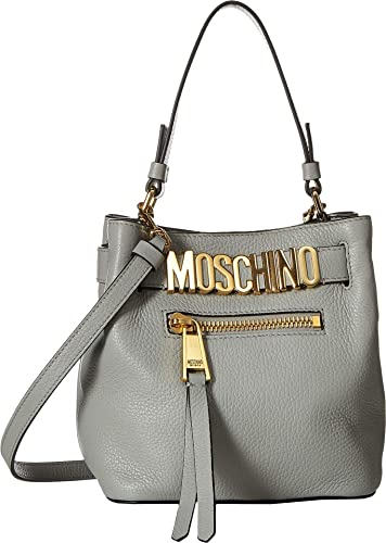 9a8b23a343 Moschino Womens Medium Logo Bucket Bag Grey Leather One Size: Handbags:  Amazon.com
