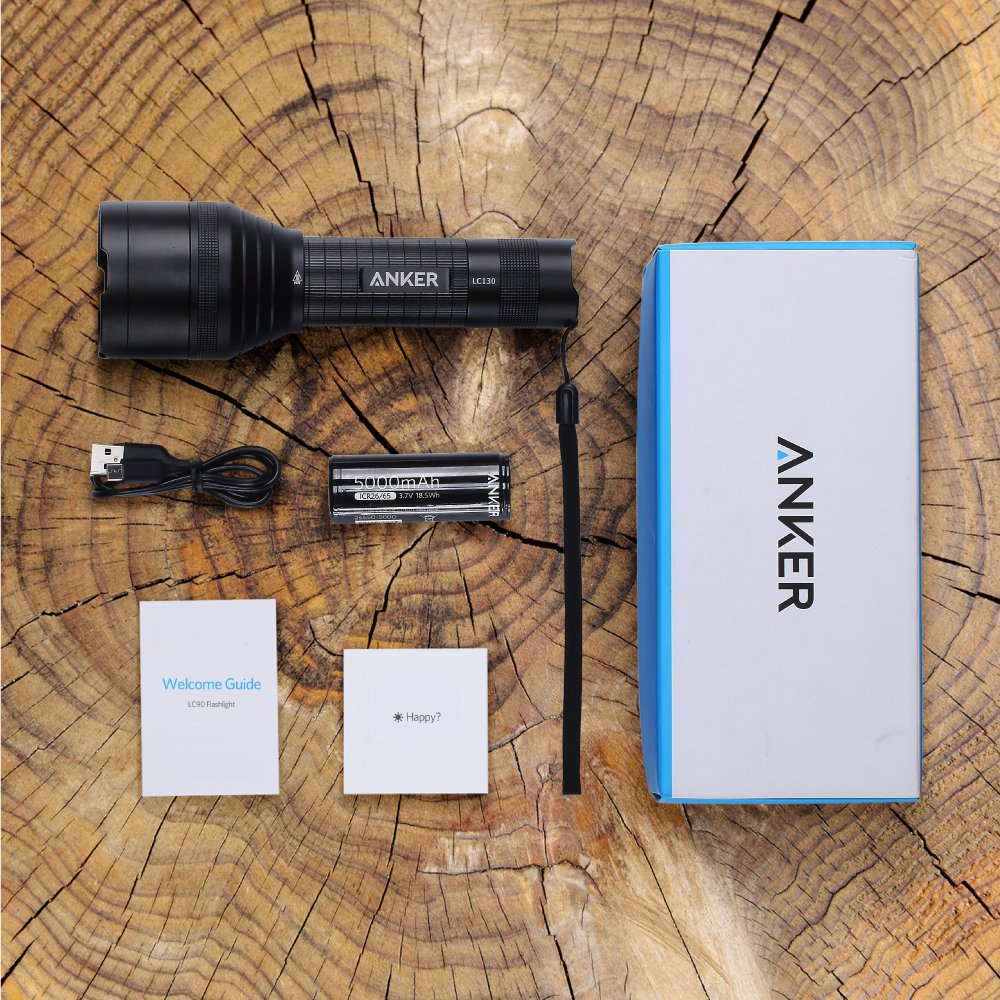 26650/Batterie IP67/impermeabile 1300/Lumen con 5/modalit/à di illuminazione ricaricabile torcia con 3/LED CREE Ultra Luminosi Anker LC130/torcia a LED kamping, uso di emergenza, sicurezza