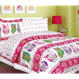 Teen Tween Girls Kids Bedding 7 Piece OWL Bedding Twin size Comforter Set-Bed In a Bag with matching Polka Dot Sheet set-Hot Pink , Turuoise Blue, Purple, Green and Grey