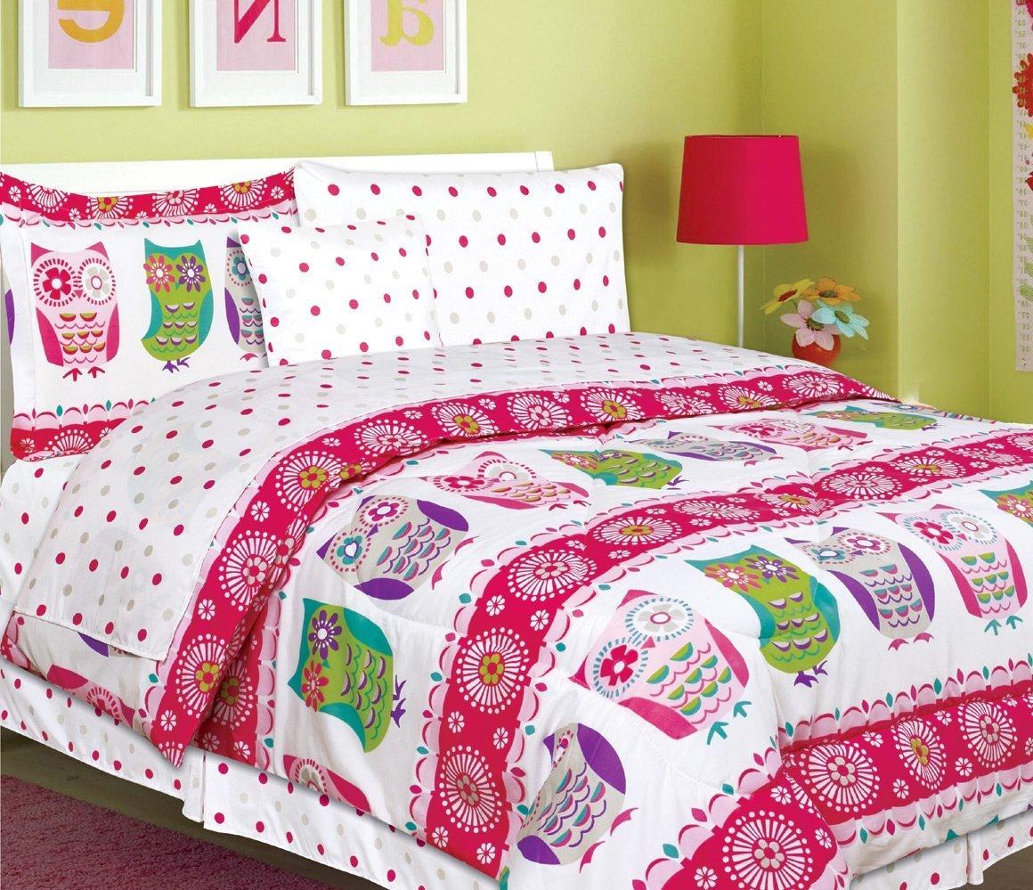Hot pink bed sets - Teen Tween Girls Kids Bedding 7 Piece Owl Bedding Twin Size Comforter Set Bed In