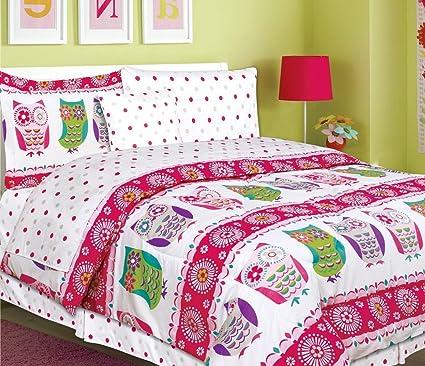 Amazon Com Teen Tween Girls Kids Bedding 7 Piece Owl Bedding Twin
