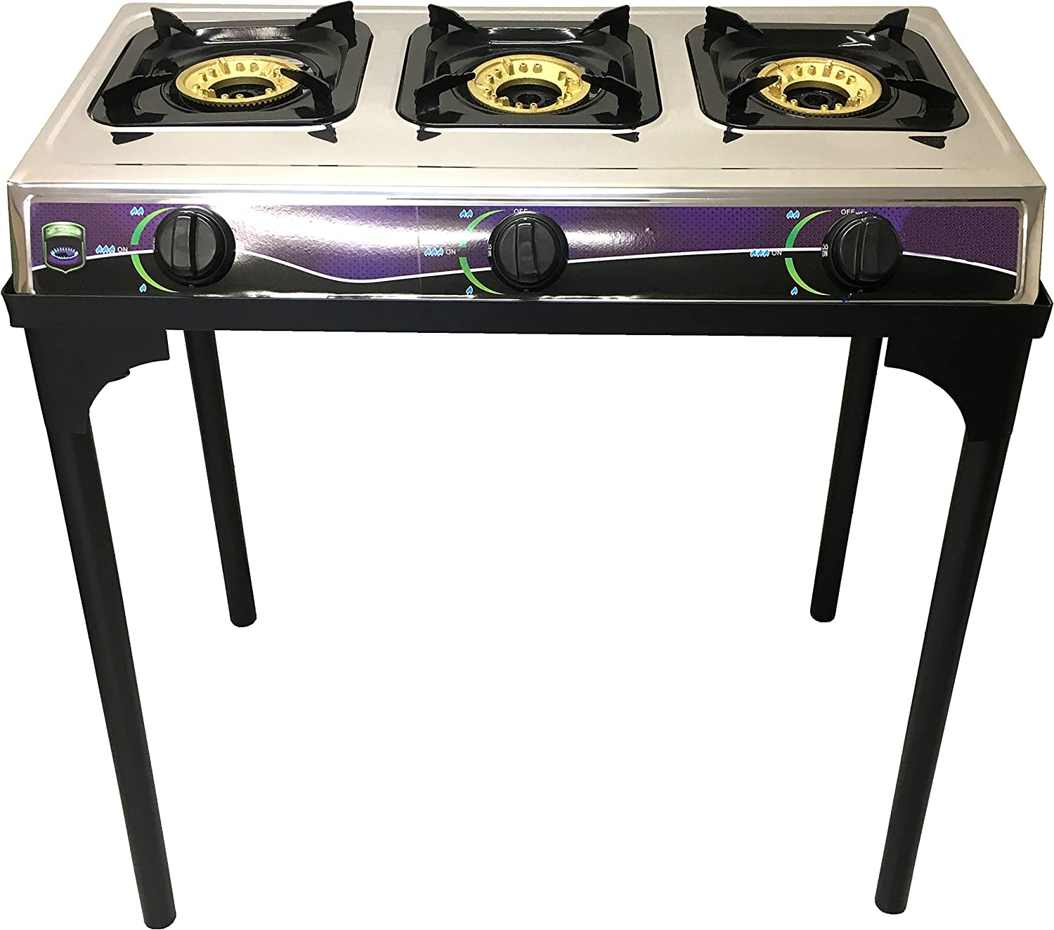 #1 Heavy Duty Three Burner Propane Gas Stove Outdoor Cooking Butane Gas Stove Full Stainless Steel Body Electronic Ignition Available without or with Black Metal Stand (THREE BURNER STOVE WITH STAND) Unique Imports