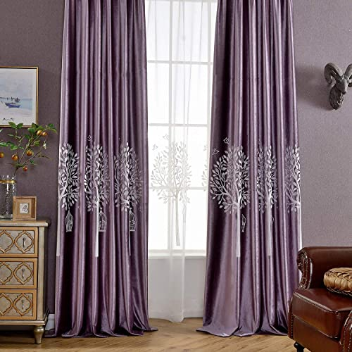 VOGOL Soft Flannel Trees Embroidered Grommet Curtain