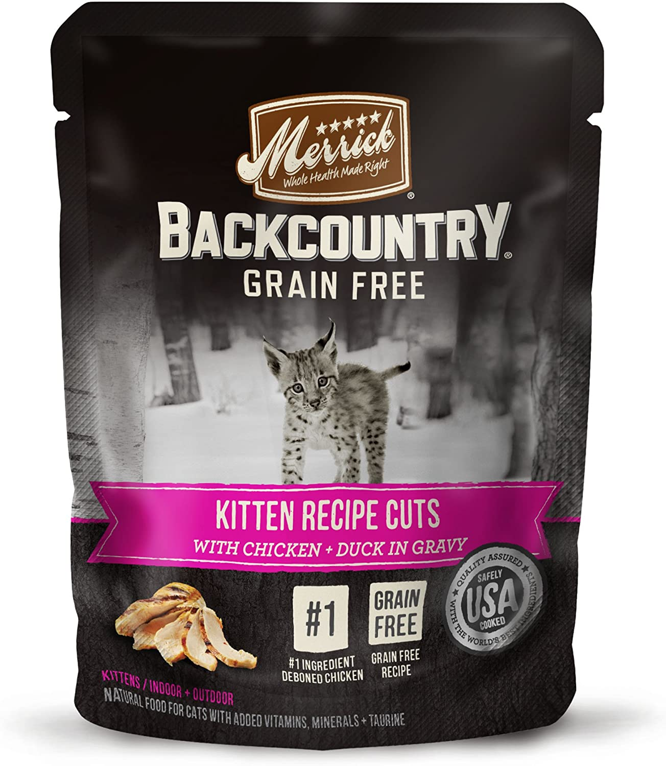 Merrick Backcountry Grain Free Real Meat Wet Cat Food, 3 oz. Pouches