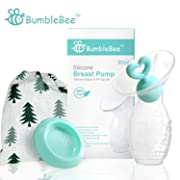 Bumblebee Manual Breast Pump with Breastfeeding Milk Saver Stopper& lid in Gift Box Breastpump 100% Food Grade Silicone bpa PVC and Phthalate Free
