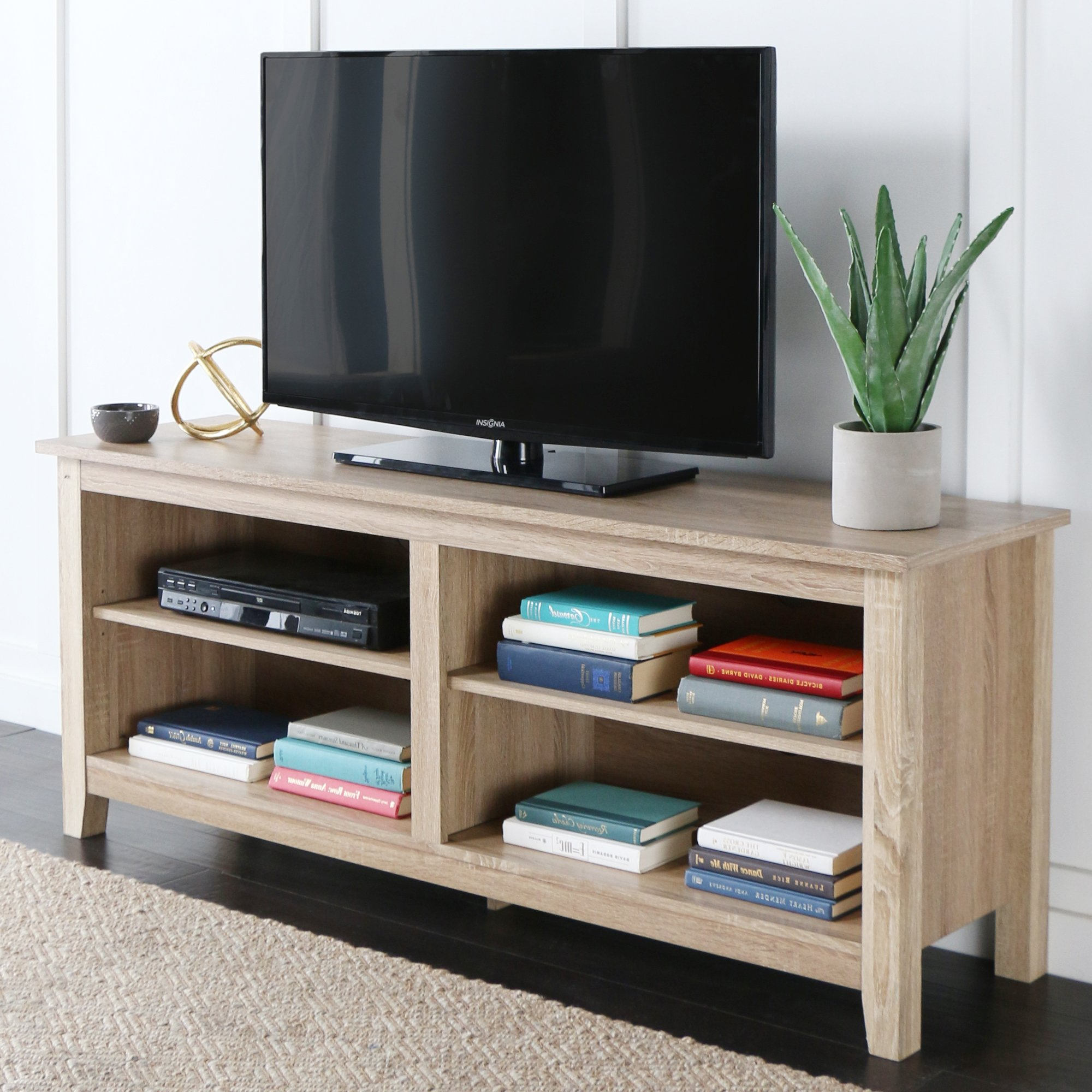 WE Furniture 58'' Wood TV Stand Storage Console, Natural by WE Furniture